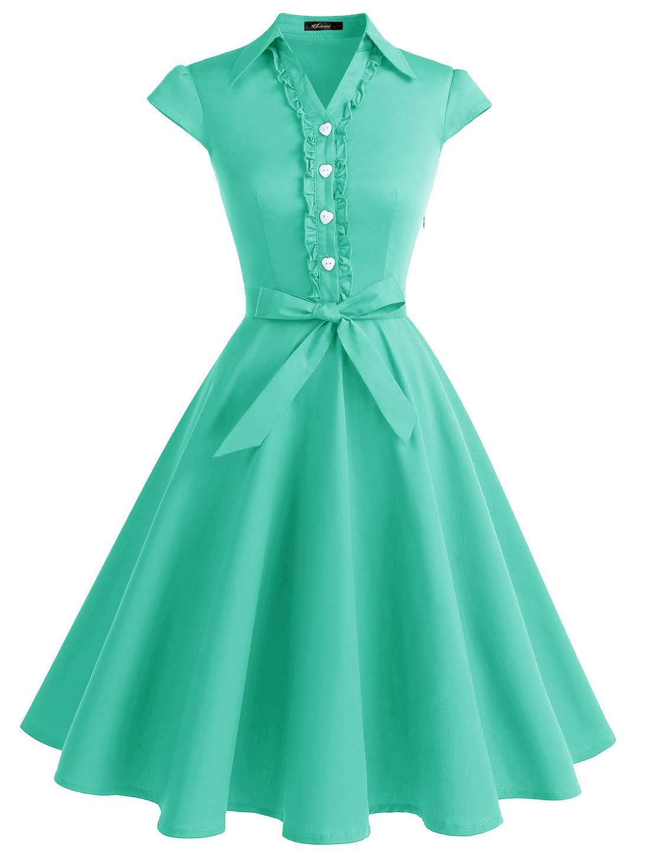 Wedtrend Women's 1950s Retro Rockabilly Dress Cap Sleeve Vintage Swing DressWTP10007TiffanyBlueL by Wedtrend