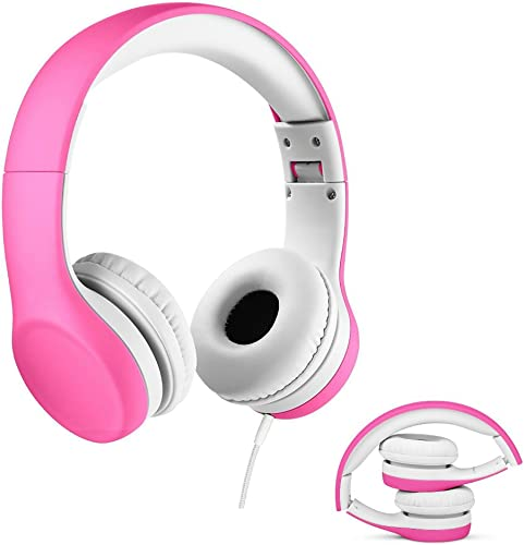 iCombob Volume Limit Kids Headphone – Children Headphones with Shareport 93dB Volume Limited Hearing Protection Folding Lightweight, Safe Food Grade Material Shell Comfortable Leather Pad Pink