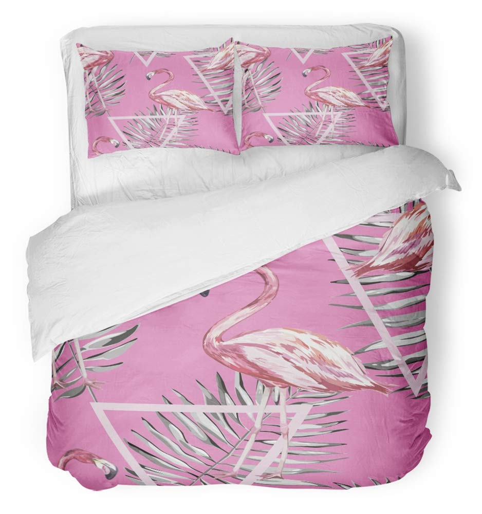 Emvency Bedsure Duvet Cover Set Closure Printed Decorative Green with Tropical Flamingo and Leaves of Movie Fabrics and White Geometry Bud Breathable Bedding Set With 2 Pillow Shams Full/Queen Size