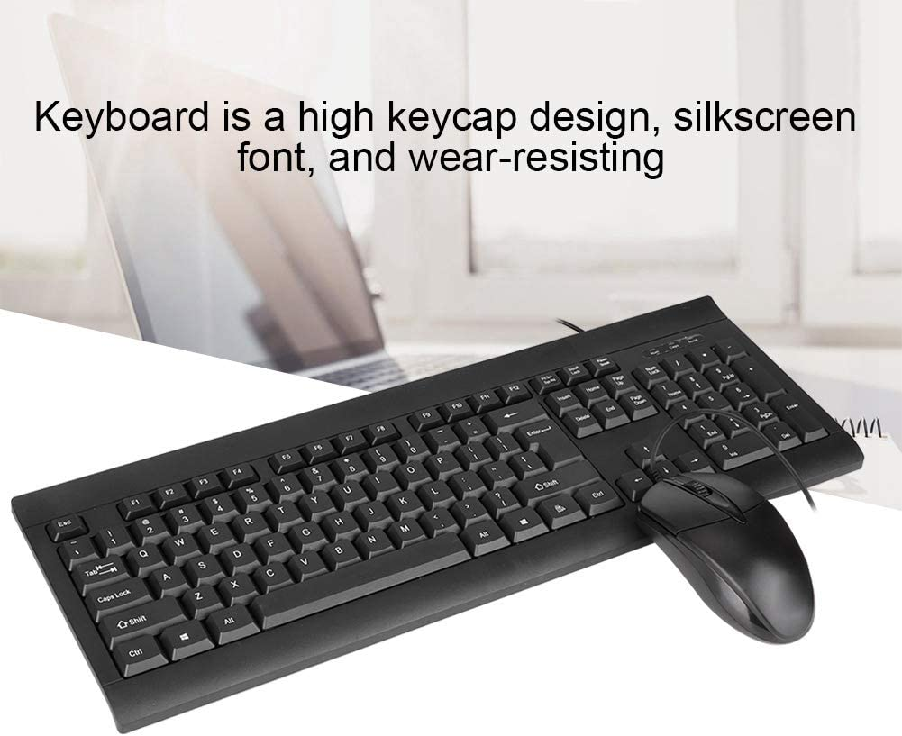 Wired Keyboard /& Wired USB Mouse Set Portable Business Office 1000DPI Keypad Mouse Set 104 Keys Keyboard /& 3 Keys Mice Kit for Work Study Game