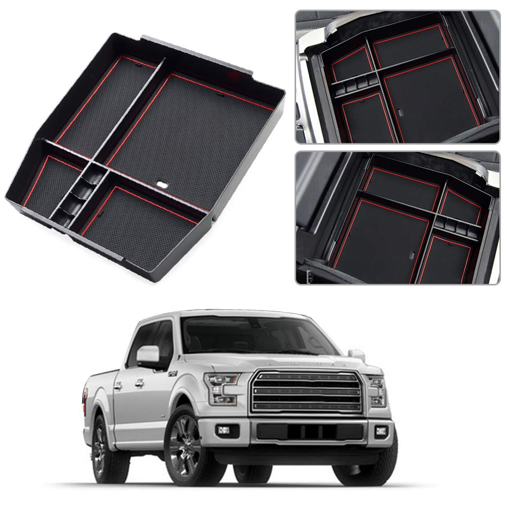 Armrest Box for Ford F150 2015-2018 Center Console Organizer Insert ABS Black Materials Tray Secondary Storage Liner Accessories Custom Fit Cup