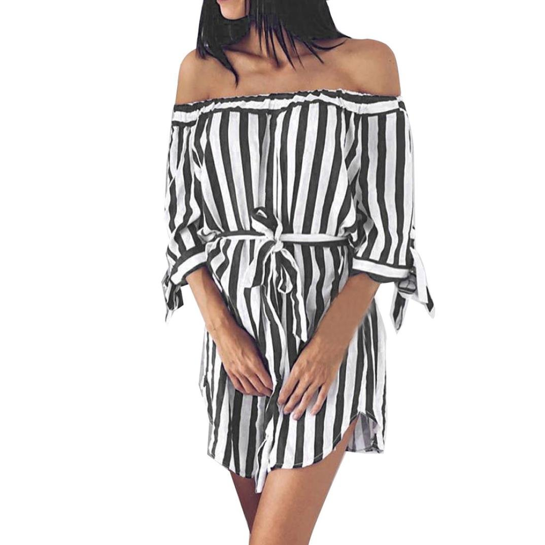 Rambling Fashion Womens Casual Sleeveless Striped Printing Off The Shoulder Evening Party Dress