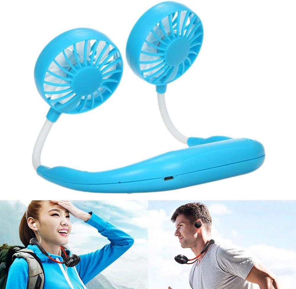 Personal Neckband Fan Hand Free Personal Fan Adjustable Mini USB Wearable Neck Double Fans Headphone Design Portable USB Battery Rechargeable Mini Fan Blue