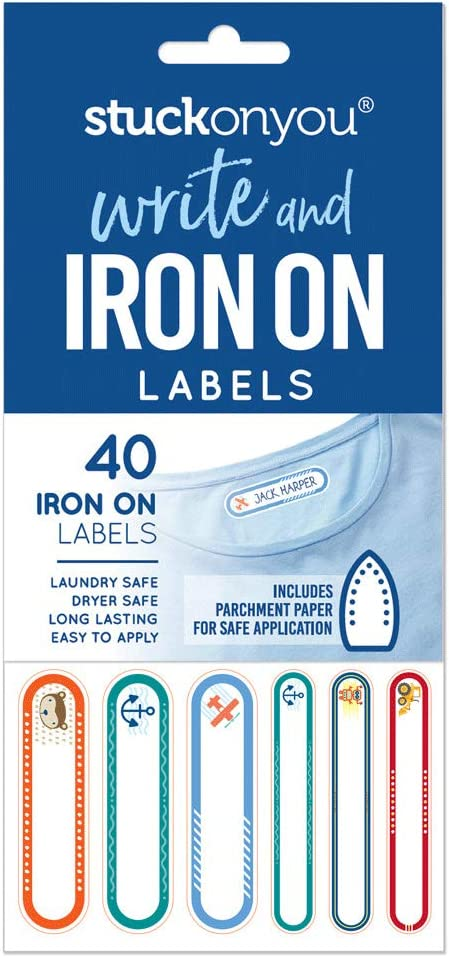 Write and Iron On Self-Adhesive Labels - Blue Pack by Stuck on You - Apply to School Uniform, Clothing, School Bags - Laundry, Dryer Safe, Long Lasting, Easy to Apply Name Tags (40 Labels/Pack)