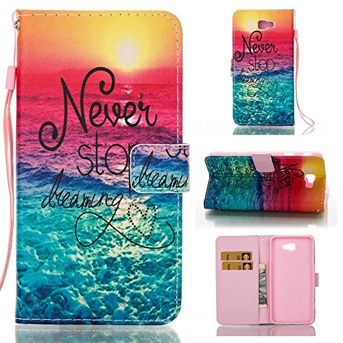 Galaxy J7 Prime Case,[Flip Wallet Case] PU Leather Stand Protector Shell Cover Case for Samsung J7 Prime 2016,Dreaming