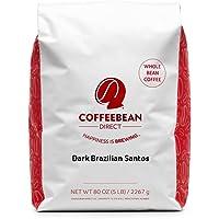 Coffee Bean Direct 黑巴西桑托斯,黑烤,全豆,5 磅(约 2268.0克)