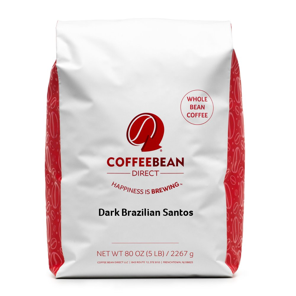 Coffee Bean Direct Dark Brazilian Santos, Dark Roast, Whole Bean, 5 Pound