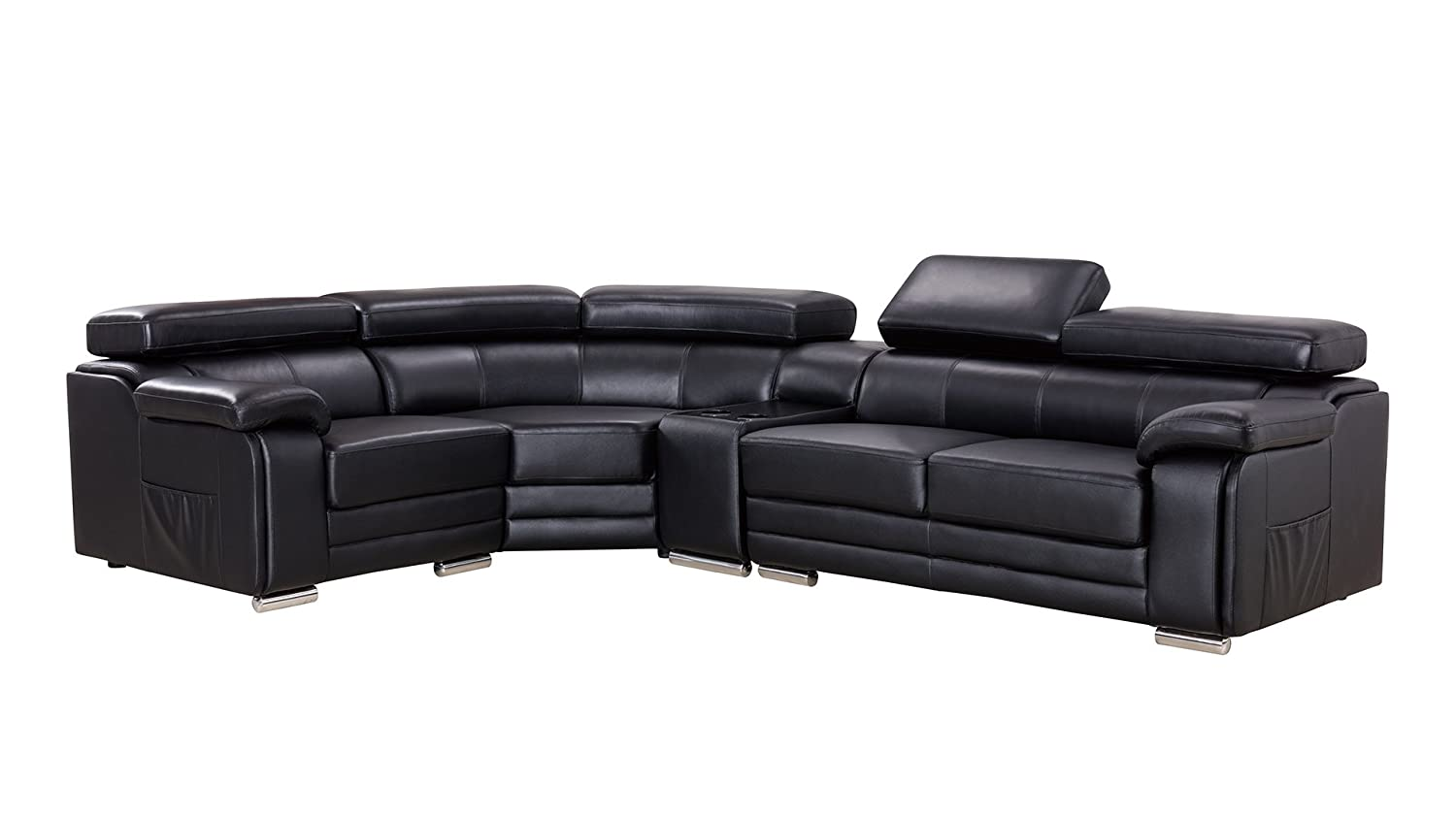 Amazon com american eagle furniture daphne collection modern top grain leather sectional sofa with chaise on left adjustable headrests black kitchen