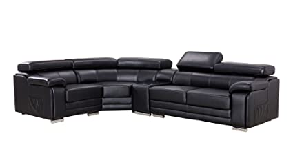 American Eagle Furniture Daphne Collection Modern Top Grain Leather  Sectional Sofa With Chaise On Left Adjustable