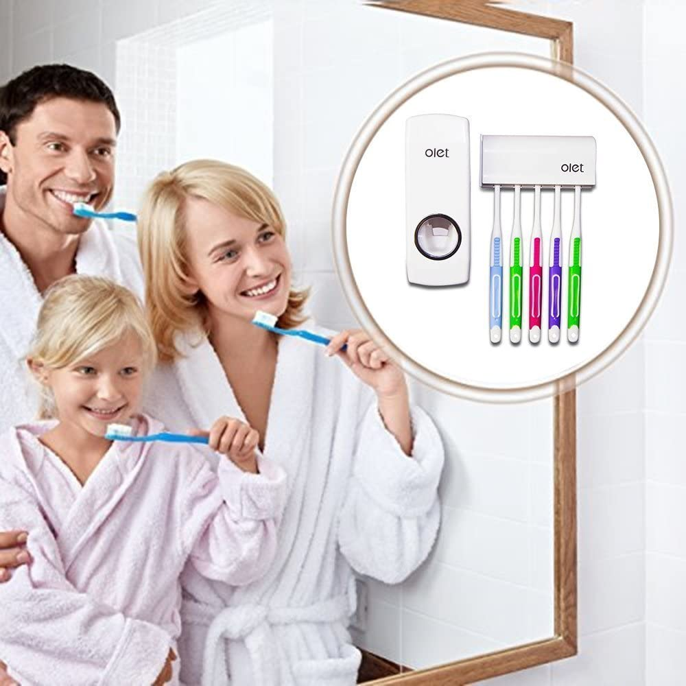 Wei/ß Automatischer Zahnpastaspender Und Halter Set Einzigartiges Design Wandhalterung Automatische Zahnpastaspender Zahnb/ürstenhalter