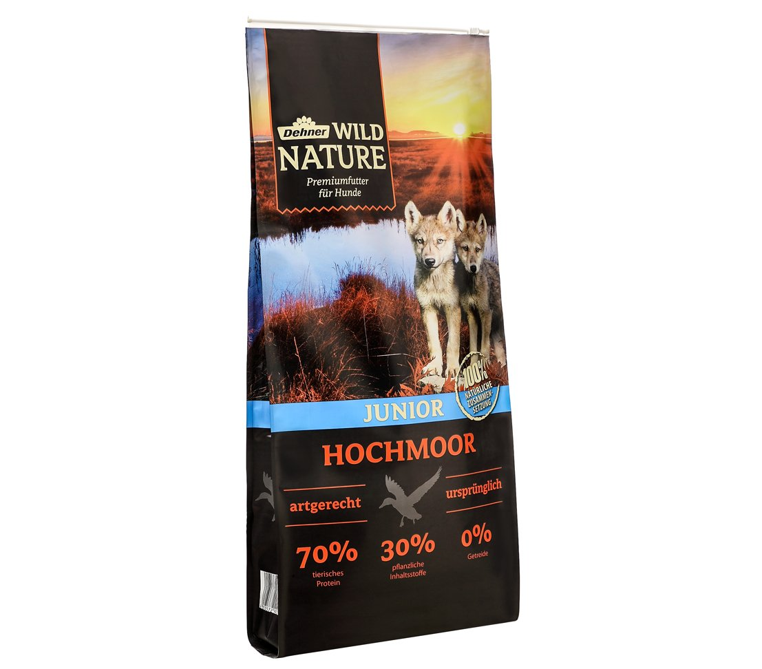 12 kg Dehner Wild Nature Hochmoor Junior, dry dog food, duck.