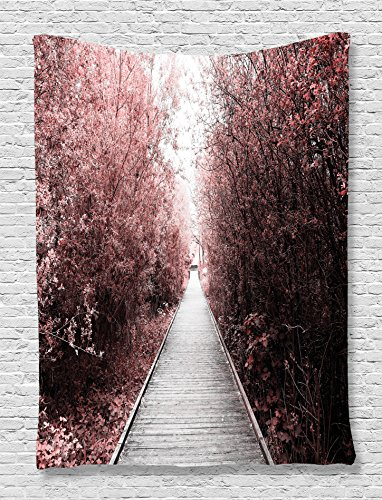 Cheap  Ambesonne City Park Trees Tapestry, Mysterious Magical Forest Exotic Nature Artistic Misty..