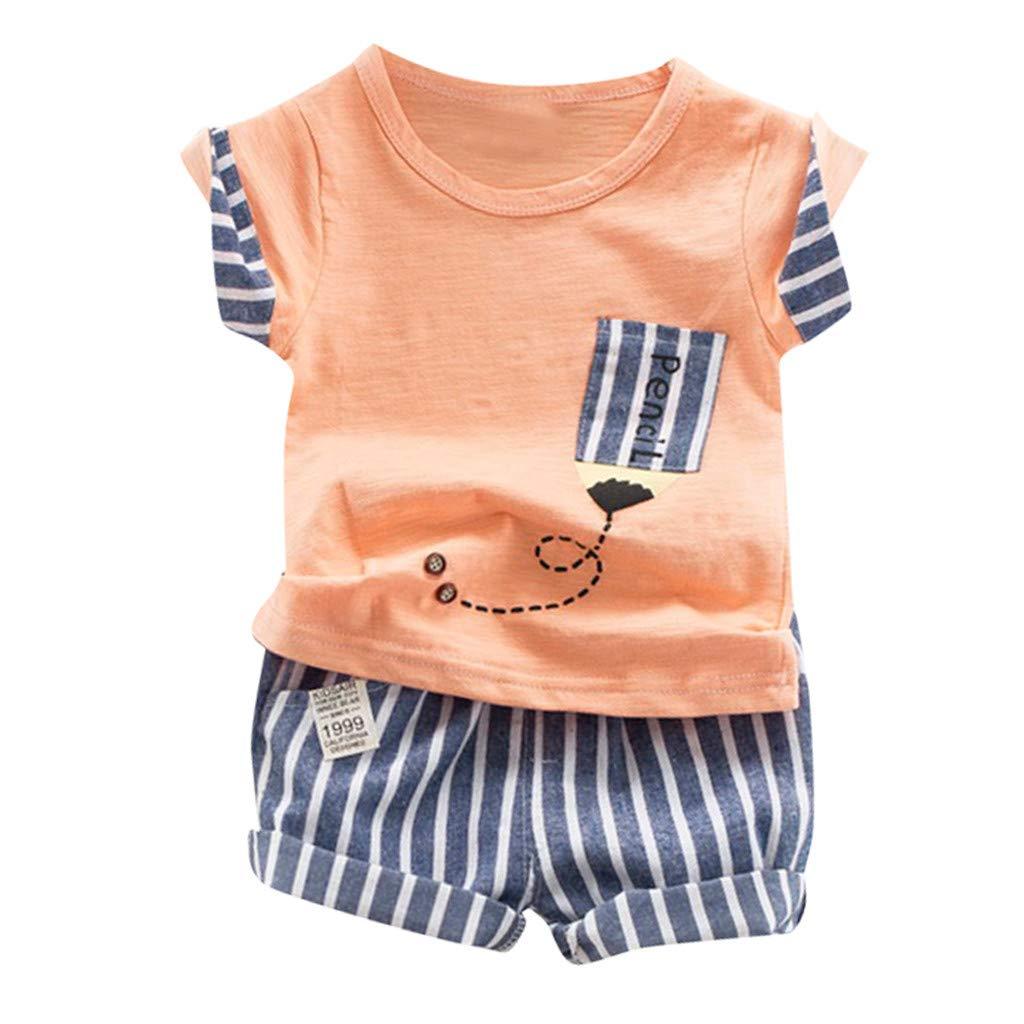 Baby Boys Summer Clothing Sets | Light Color T Shirt for Toddler Boys Striped Shorts Set(Orange,100)