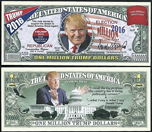 Price comparison product image Donald Trump, Make America Great Again Million Dollar Bill - Lot of 100 BILLS