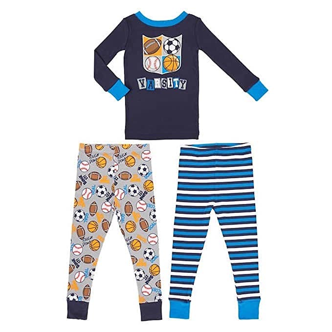 31a2693642 Image Unavailable. Image not available for. Color  Kirkland Signature Boys   3-Piece Organic Cotton Pajama ...