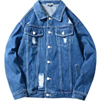 LONGBIDA Men's Ripped Distressed Denim Trucker Jacket