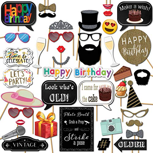 Birthday Photo Booth Props Party Kit, 41 Pieces with Wooden Sticks and Strike a Pose Sign by Outside the -
