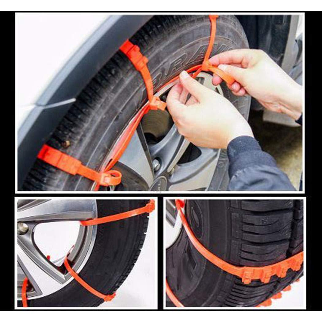 Cadiyo 10 Pezzi Catene da Neve Antiscivolo per Auto in Nylon Resistente Accessori per Auto Accessori di Emergenza