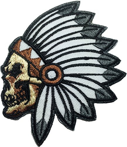 Feathered Indian Chief Head Death Skull Embroidered Sew Iron on Patch (RR-IRON-SKUL-HEAD-INDI-AN01) (Lone Cowboy Adult Costume)
