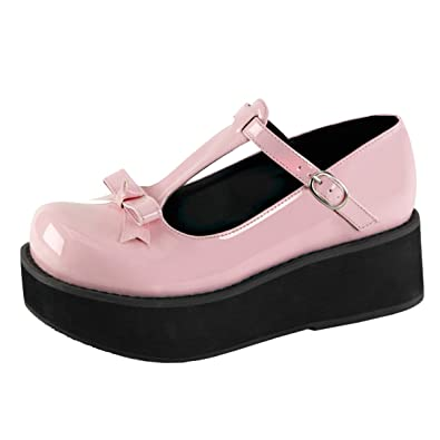 Summitfashions Womens T Strap Shoes Baby Pink Platforms Bow Buckle Strap 2 1 4  Inch 83cdb5a9a