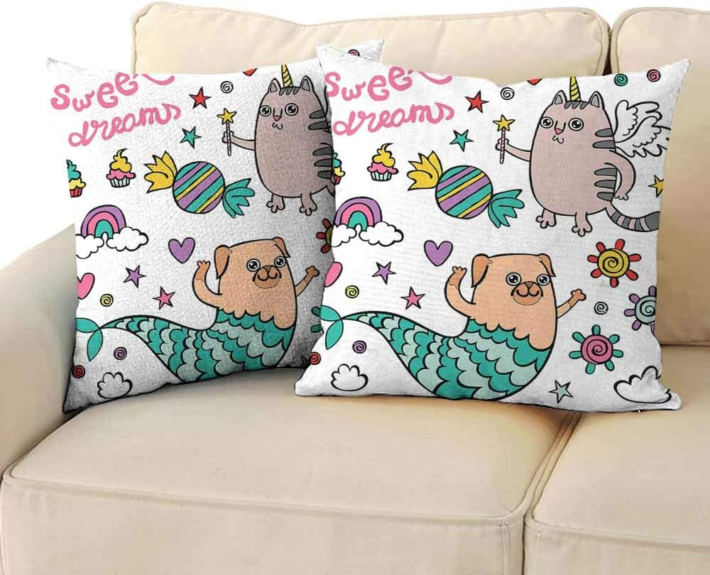"""Simple Pillowcase Unicorn Cat Pug Mermaid and Unicorn Cat Wishing Sweet Dreams Colorful Sweets and Rainbow Without core W 14"""" x L 14"""" 2 pcs Multicolor"""