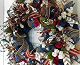Americana Eye Candy! Rustic Navy Blue & Dark Red 4th of July, Memorial Day, Summer, Everyday Deco Mesh Floral Door Wreath, Veterans Day