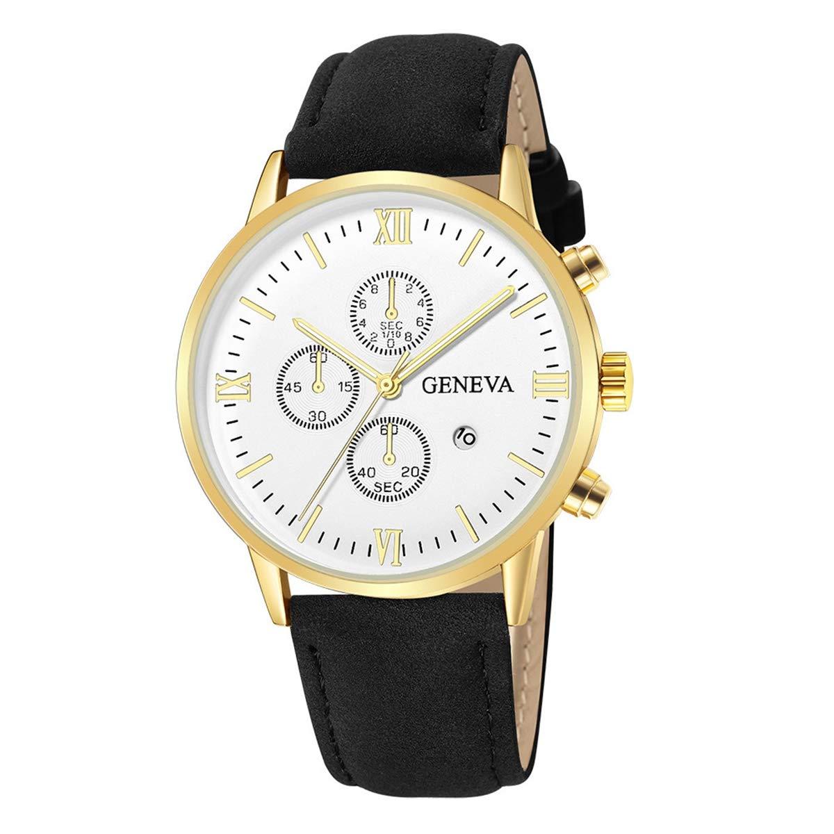 ZODRQ Men's Watch,Fashion Life Waterproof Sport Watches Leather Band Wrist Watch Wristwatch Date Quartz Watch for Men Gift (P) by ZODRQ