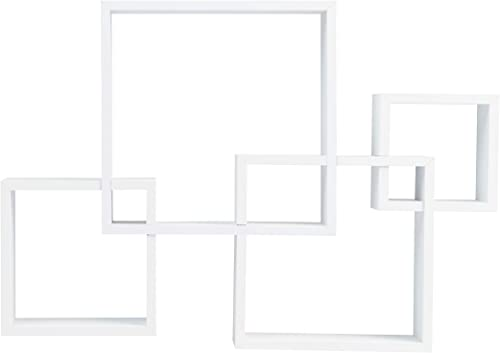 Danya B BR1023WH Decorative Wall Mount Floating Intersecting Cube Accent Wall Shelf – White
