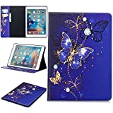 KMISS Case for iPad 9.7 2018 2017 - Stylish Art Printed Ultra Lightweight Protective Stand Cover Wallet Case with Card Cash Slots for Apple iPad 9.7 Inch (iPad 5 - iPad 6) (Purple Butterfly)