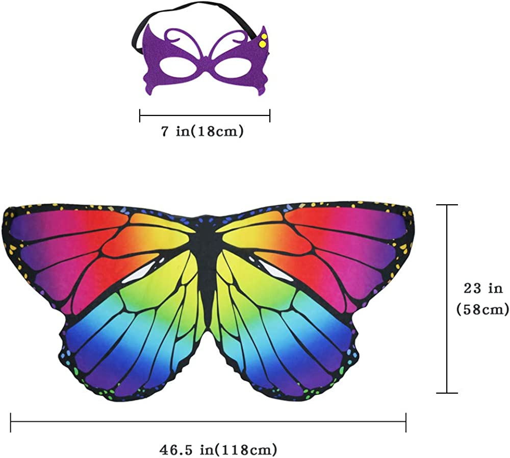 Rainbow Kids Butterfly Wings Costume for Girls Mask Tutu Christmas Dress Up Party