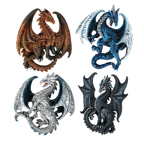 Dragon's Lair Ruth Thompson Set of 4 Collectible Sculptural Dragons Refrigerator Magnets Gift - Fridge Collectible Magnet