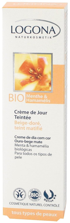Logona Organic Mint Witch Tinted Day Cream, Hazel Beige Gold Matte, 1.04 Ounce