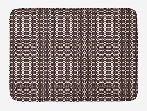 Weeosazg Tribal Bath Mat, Nostalgic Primitive Native American Geometric Bohemian Pattern, Plush Bathroom Decor Mat with Non Slip Backing, 23.6 W X 15.7 W Inches, Pale Yellow Eggplant Orange -