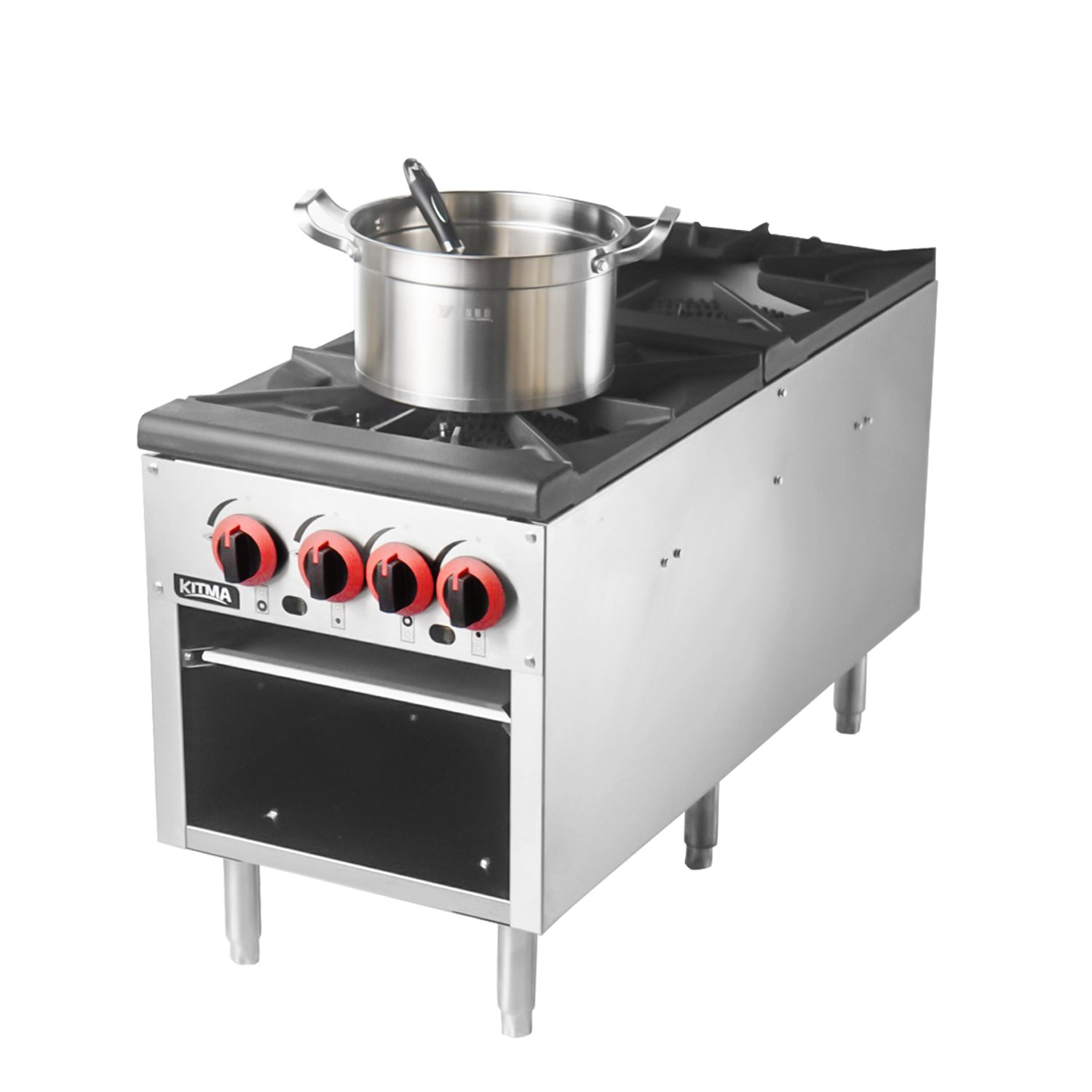 18 Inches 2 Stock Pot Stove - KITMA Natural Gas Countertop Stock Pot Range with 4 Manual Controls - Restaurant Equipment for Soups
