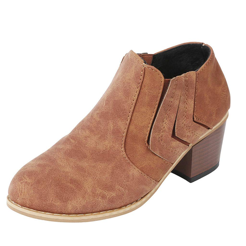 〓COOlCCI〓Women's Ankle Boots & Booties,Slip On Loafers Pointed Toe Chunky Block Low Heel Office Dress Casual Shoes Booties Brown