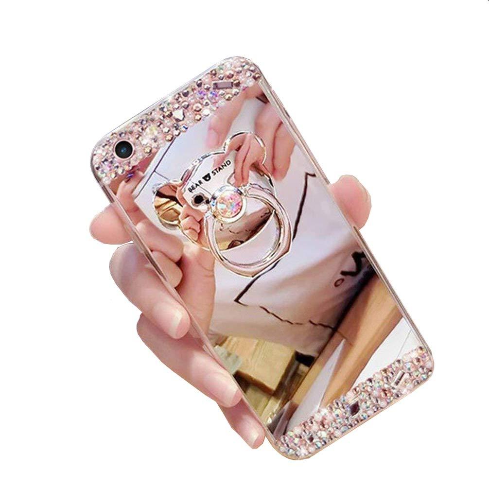 Homikon Miroir Effet Coque TPU Silicone Etui Paillette Strass Brillante Glitter Diamant Etui Ours Ring Holder Souple Miroir Makeup /Étui Case Cover Couverture pour Samsung Galaxy A7 2018 Silver