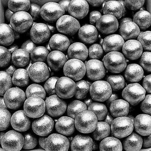 Natural Color Silver Jumbo Pearls Edible Pearls 8mm cake cupcake decorations - Edible Silver Pearls