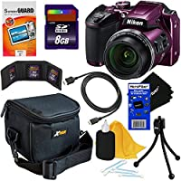 Nikon COOLPIX B500 16MP CMOS Wi-Fi, NFC Digital Camera with 40x Zoom Lens & HD Video (Plum) - International Version (No Warranty) + 8pc 8GB Accessory Kit w/ HeroFiber Ultra Gentle Cleaning Cloth