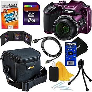Nikon COOLPIX B500 16MP CMOS Wi-Fi, NFC Digital Camera with 40x Zoom Lens & HD Video (Plum) - International Version (No Warranty) + 8pc 8GB Accessory Kit w/ HeroFiber Ultra Gentle Cleaning Cloth