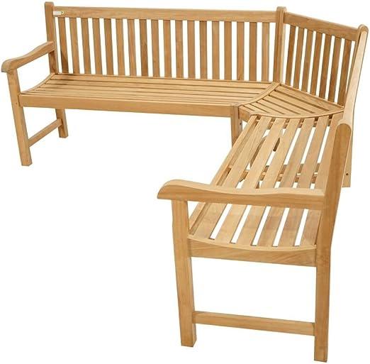 Premium esquina Banco Para Exteriores/200 x 200 cm/Banco de jardín de madera de teca/muy resistente y robusta: Amazon.es: Hogar
