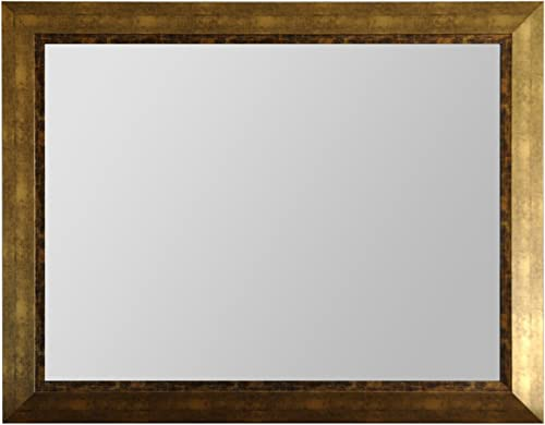 Raphael Rozen Wood Frame Modern Mirror, Rectangle, Antique Gold Finish, 40X30