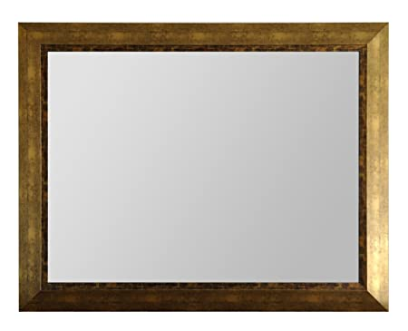 Wood Frame Modern Mirror, Rectangle, Antique Gold Finish, 40X30