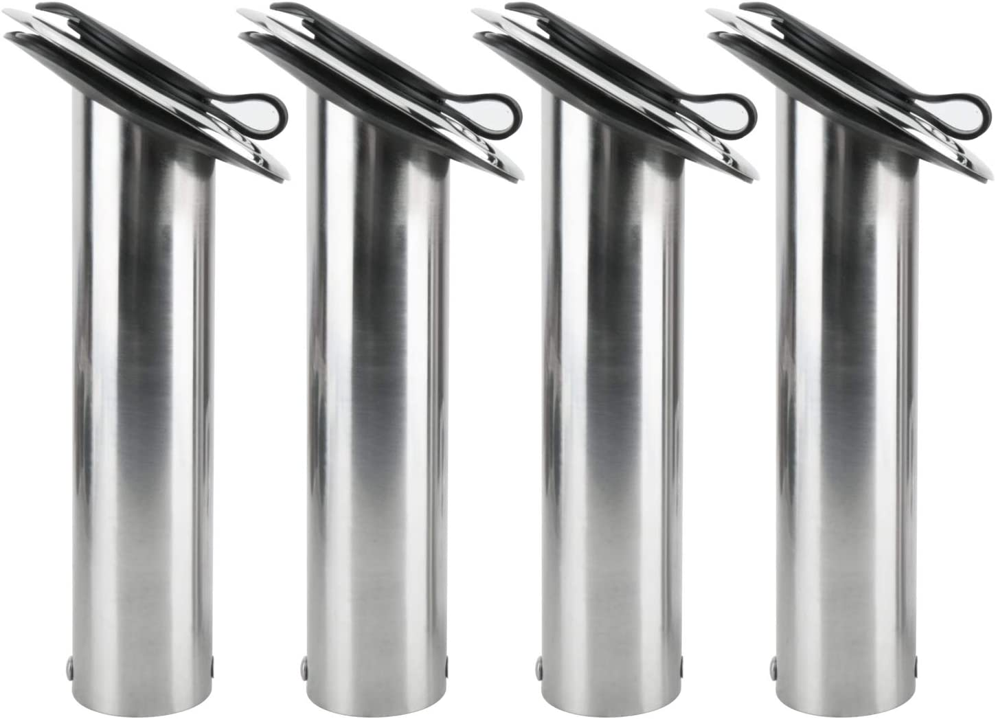 Amarine Made 4 Pack of Stainless Steel Rod Holders Rubber with Cap, Liner, Gasket