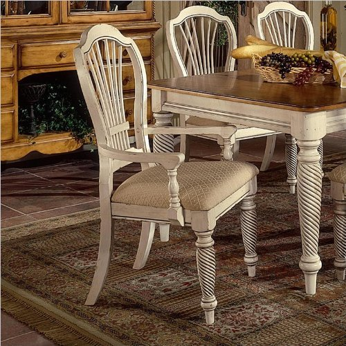 Antique Arm Chairs (Hillsdale Wilshire Fabric Arm Dining Chair in Antique White (Set of 2))