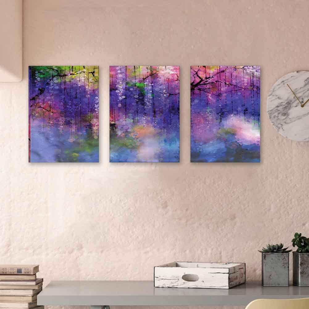 "MartinDecor Flower Art Oil Painting On Canvas Wisteria Branches Nature 3D Paintings Modern Home Wall Decoration Modern Minimalist Atmosphere 24""x35""x3 Pcs"