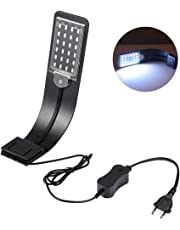 LEDGLE 10W Lámpara de Acuario Ultrafina Compacta Luces de Planta Acuática con Potente Clip-on IPX7 Luz Blanca y Azul Resistente Al Agua, Mejor para El Tanque de Peces de 30-60CM