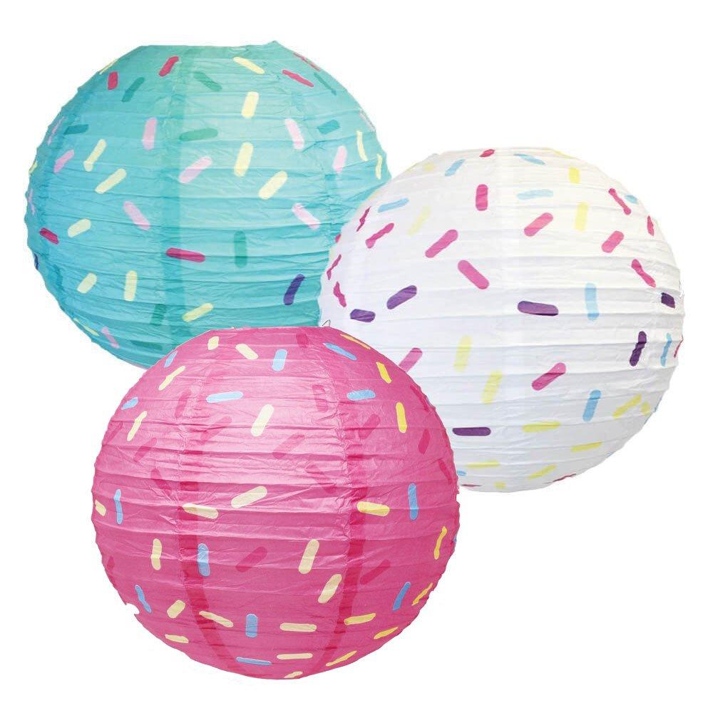 Just Artifacts 12inch Hanging Paper Lanterns (Sprinkles Pattern, 3pcs)