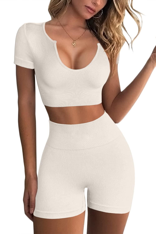 FAFOFA Women's Seamless 2 Piece Workout Outfits High Waist Running Shorts GMY Yoga Crop Top Sets