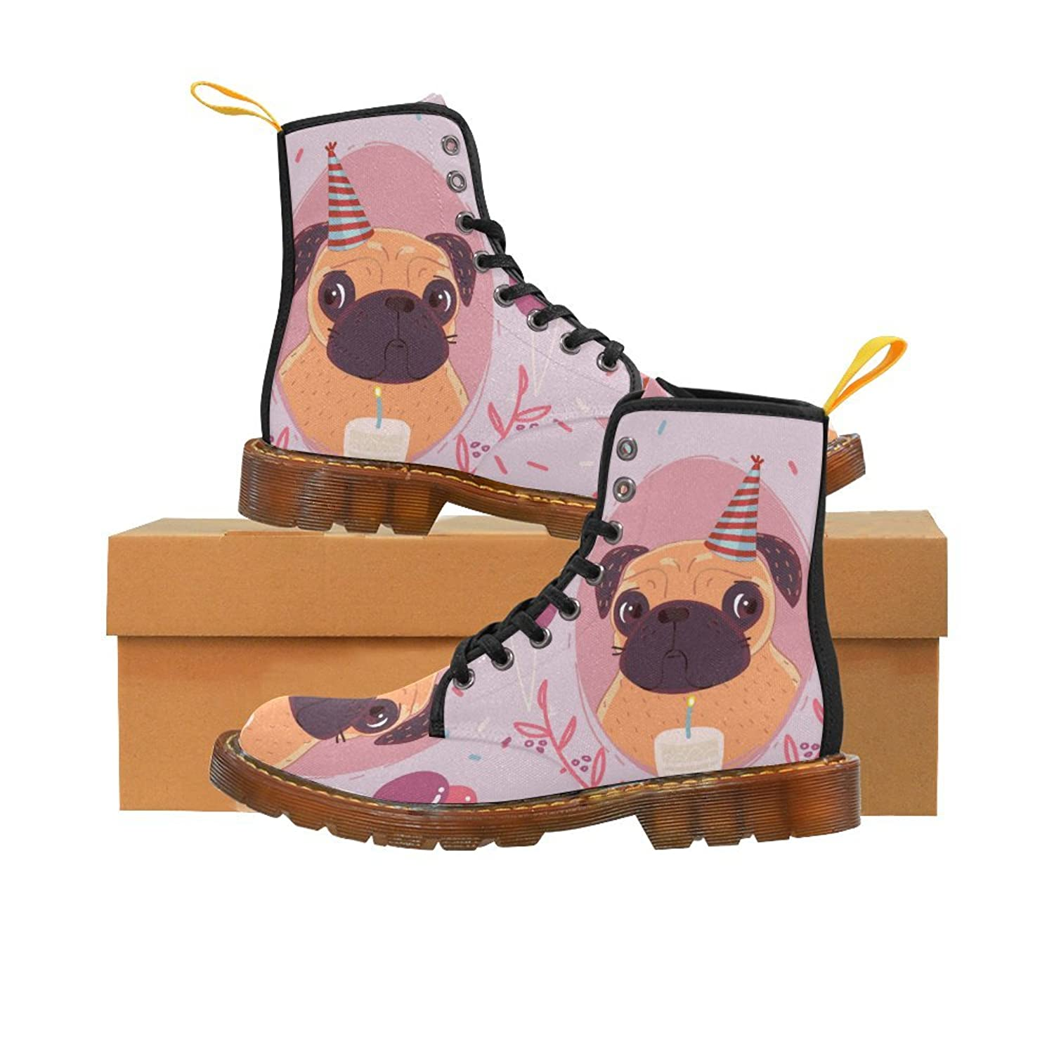 Shoes Pug Birthday Lace Up Martin Boots For Women