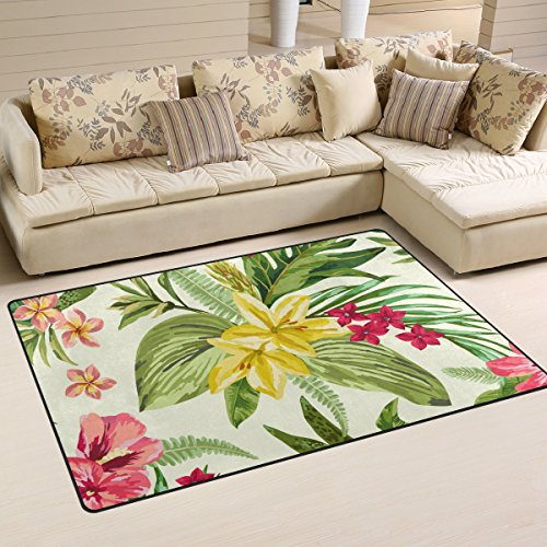 DEYYA Non-Slip Area Rugs Home Decor, Classic Tropical Hawaiian Plumeria and Hibiscus Flowers Door Mat Living Room Bedroom Carpets Doormats 60 x 39 inches]()